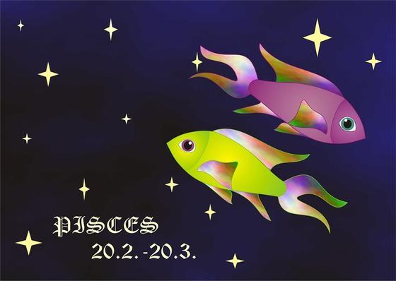 Знак зодиака Рыбы на синем фоне