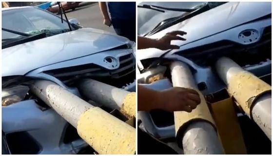 Легковушку пробило разделителем в Алматы