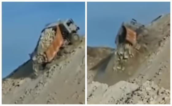 Маңғыстау облысында жүк көлігі аударылып, жүргізуші ғажайыптың күшімен аман қалды (видео)