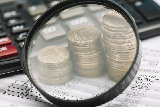 Монеты под увеличительным стеклом