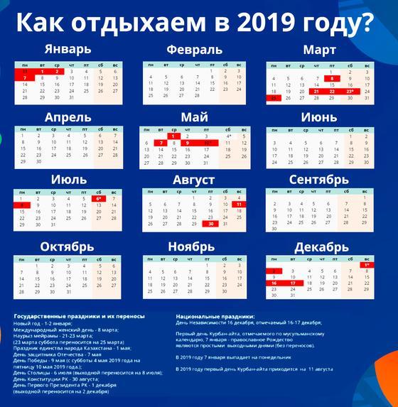 120 дней отдохнут казахстанцы в 2019 году