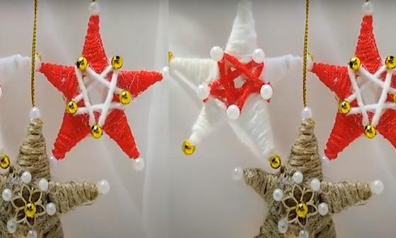 Новогодние звезды висят на нитках