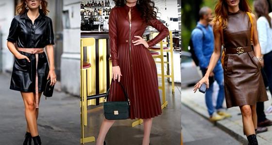 Стильные кожаные платья