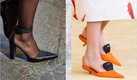 Обувь с острым носком на высоком каблуке и с каблуком-рюмочкой