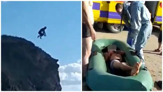Безумный прыжок мужчины в карьер сняли на камеру в Карагандинской области