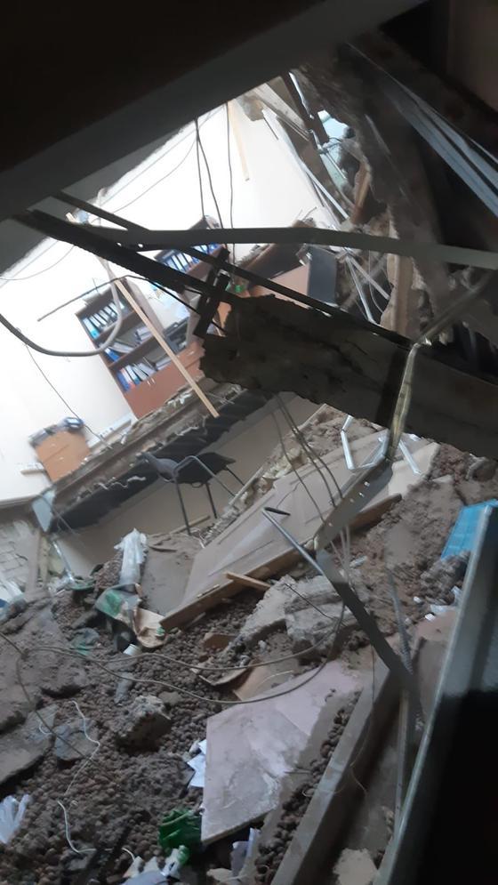 Место обрушения здания в Актобе