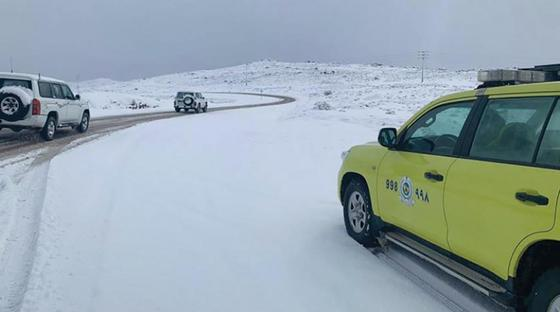 Снег выпал в Саудовской Аравии (фото, видео)