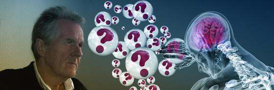 Из мозга человека вылетают знаки вопроса в шариках (фантазия)