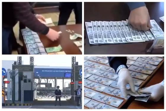 Миллионы тенге и десятки тысяч долларов: КНБ опубликовал кадры задержания таможенников
