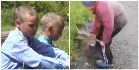 Ремонтирующий сельскую улицу 11-летний мальчик из СКО стал звездой Казнета (видео)