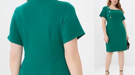 Зеленое платье-футляр для полных девушек 2021