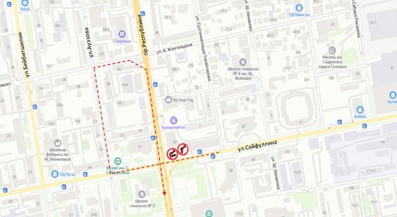 Обновленная схема разворота на пересечении проспекта Республики и улицы Сейфуллина