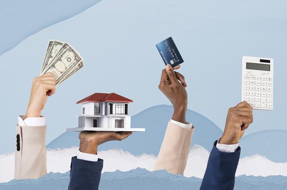 Деньги, дом, кредитная карта и калькулятор