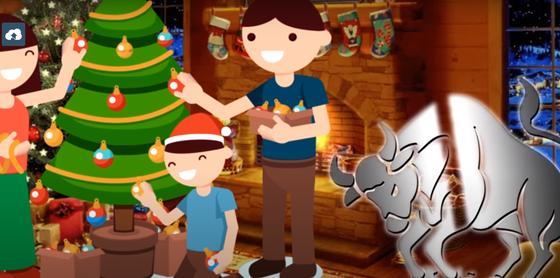 Дети возле новогодней елки и знак года Бык