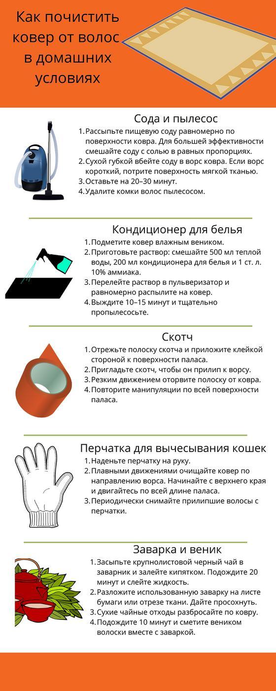 Инфографика: как почистить ковер от волос
