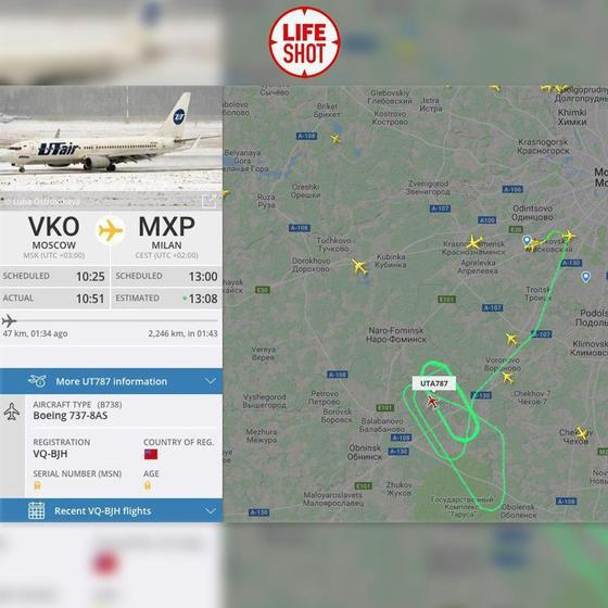 Летевший в Милан Boeing экстренно вернулся в Москву