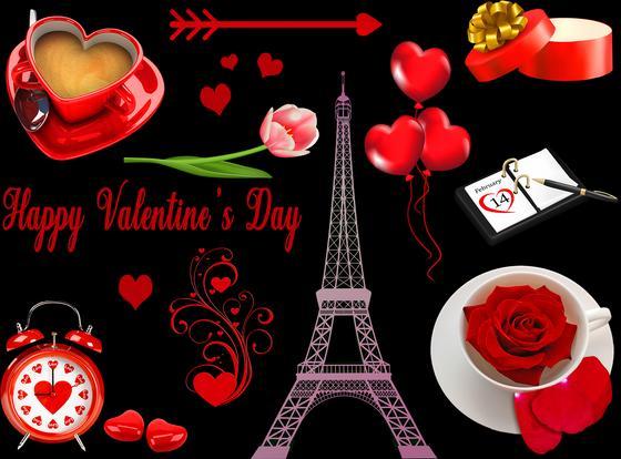 Эйфелева башня, сердечки как символы праздника