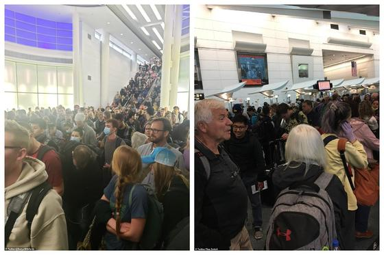 Огромные очереди образовались в аэропортах США из-за коронавируса