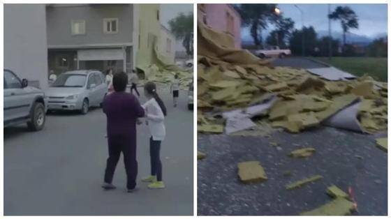 Фасадная отделка отвалилась с жилого дома в Алматы (видео)