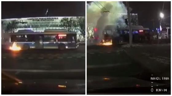 «Шустрые пассажиры»: автобус с людьми загорелся в Алматы (видео)