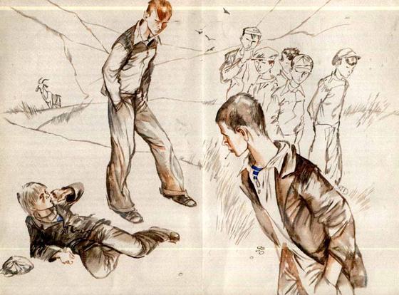 Старшие ребята обижают подростка (иллюстрация к рассказу «Уроки французского»)