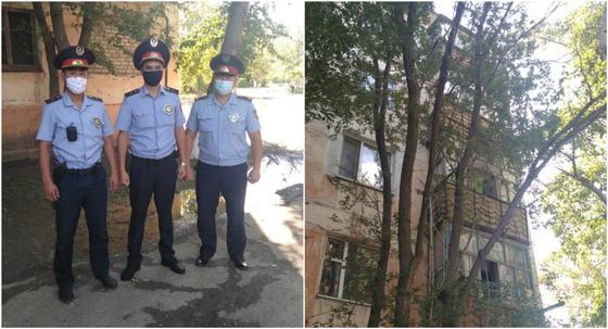 Спасение повисшего на карнизе 5 этажа жителя Аркалыка попало на видео