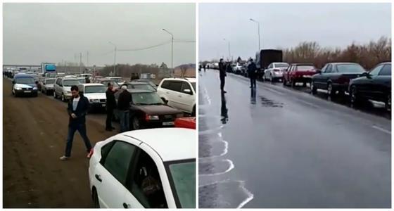 Огромные очереди образовались на блокпостах у Павлодара