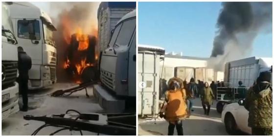 Фура сгорела на рынке в Караганде: есть пострадавший (видео)