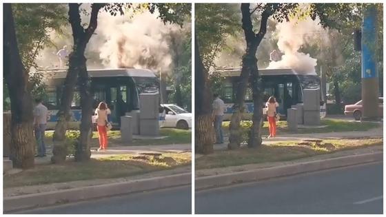Троллейбус загорелся в Алматы: водитель в одиночку потушил пожар (видео)