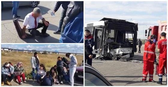 Водитель в крови - пассажиры на асфальте: видео покореженного автобуса напугало астанчан