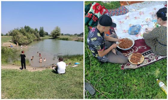 Семья переселенцев отдыхает на природе
