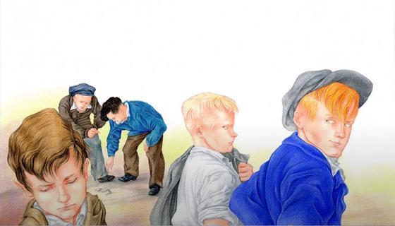 Ребята отвернулись от друга (иллюстрация к рассказу «Уроки французского»)