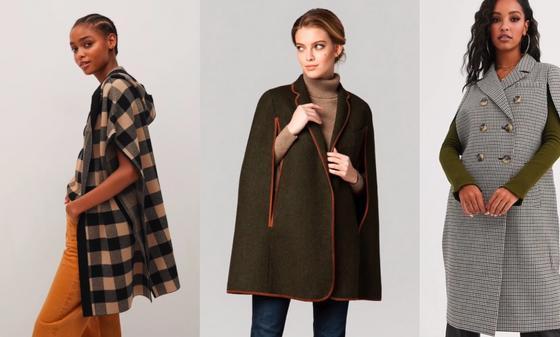 Пальто без рукавов одноцветное и в клетку на моделях
