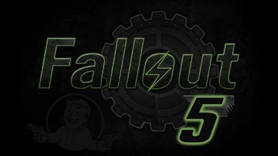 Название игры «Fallout 5» на черном фоне