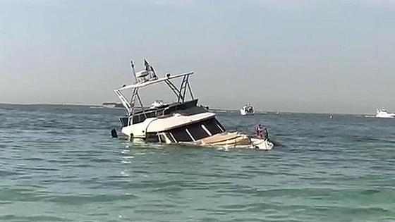 Яхта за 1,5 млн долларов затонула в Дубае (видео)