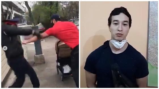 Алматинец, порвавший на полицейском куртку, извинился