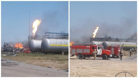 Взрыв произошел на газохранилище в Шымкенте (видео)