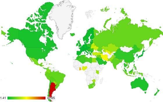 Области на карте демонстрируют величину процентных ставок по ипотеке