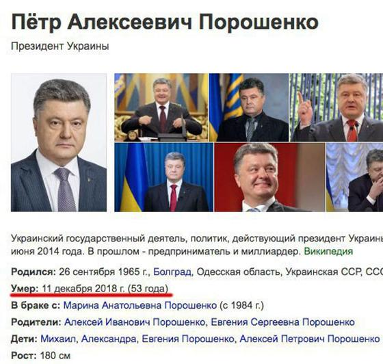 """«Умер 11 декабря»: """"Википедия"""" """"похоронила"""" Порошенко"""