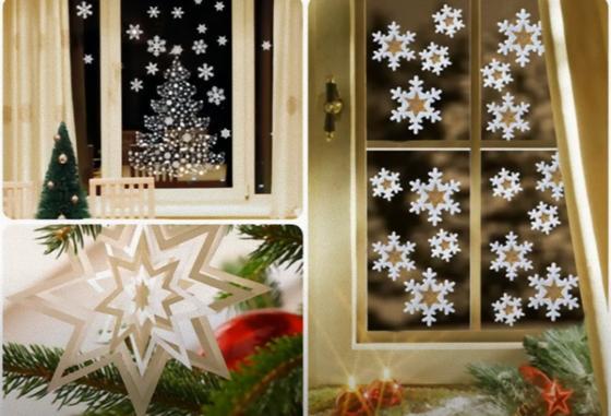 Окно, украшенное бумажными снежинками