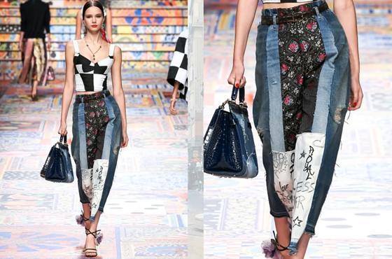 Модный образ с джинсами в стиле пэчворк