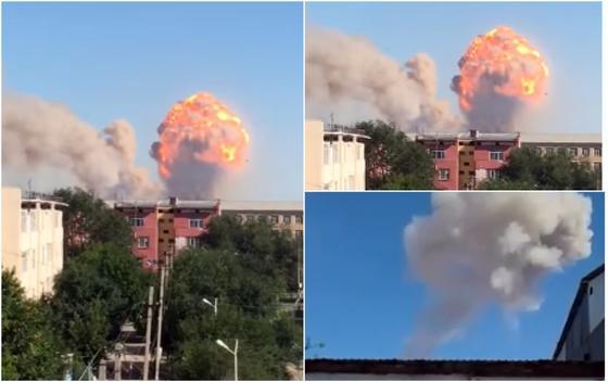Взрыв произошел в воинской части в Арыси (видео)