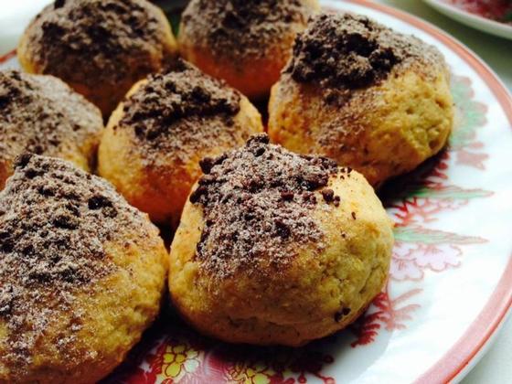 Песочное печенье с тыквой и шоколадом