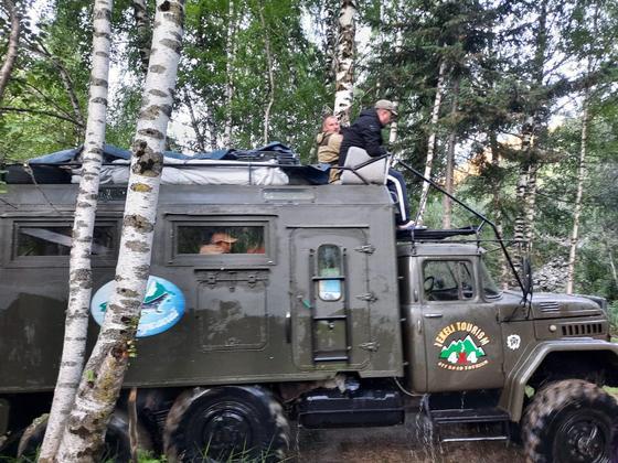 Автомобиль стоит на опушке леса