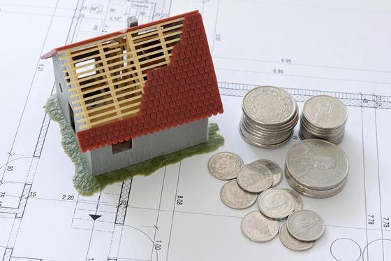 Игрушечный домик стоит на схеме рядом с монетами