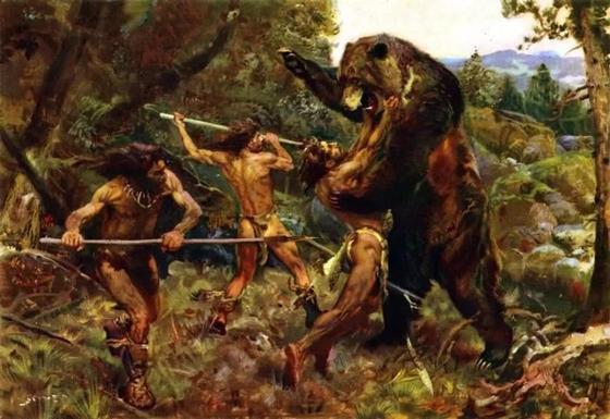 битва кроманьонцев с медведем