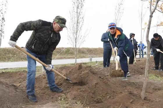Депутаты с лопатами вышли на субботник в Астане (фото)