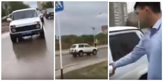 """Погоня за полицейской """"Нивой"""" в Актобе попала на видео"""