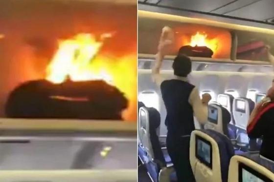 Стюардесса соком потушила пожар на борту китайского самолета (видео)