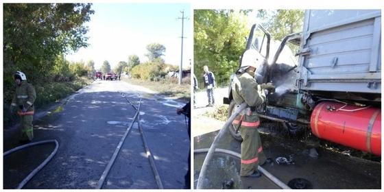 Грузовик с газовыми баллонами едва не взорвался в ВКО (фото)